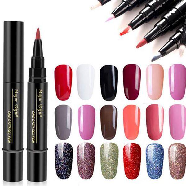 best selling Wholesale One Step Gel 3 In 1 UV Nail Polish Pen Nail Art Soak Off UV LED Nail Lamp Shining Glitter Gel No Need Top Base Coat free shipping