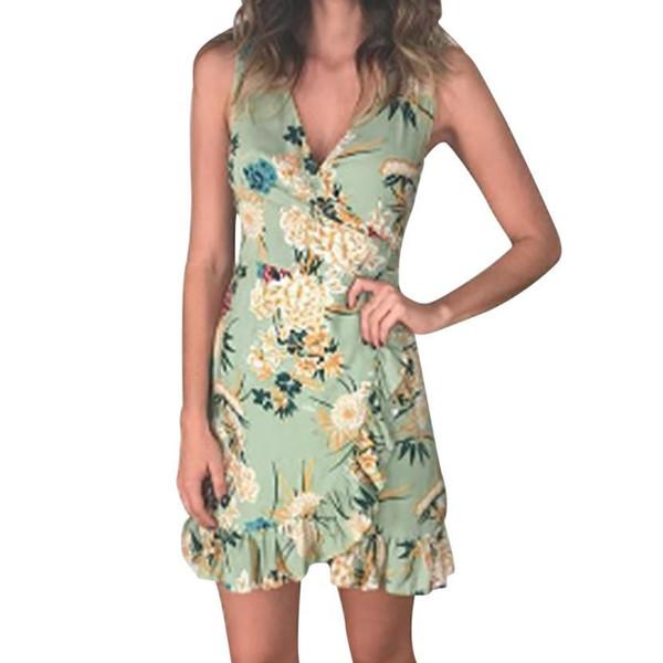 Boho Dress For Women Leaves Floral Printed V Neck Sleeveless Ruffles Party Dresses Summer Beach Sundress #VE