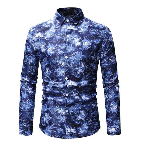 Uzun kollu Çiçek erkek Gömlek Gündelik Moda Çiçek Hawaii Gömlek Elbise Bluz Erkekler Mavi Gri