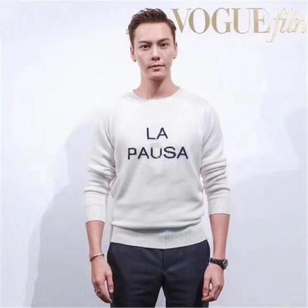 Marca de design -2019 início da primavera nova cashmere núcleo-fio circular pescoço camisola espessura apenas para a direita tendências da moda