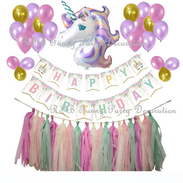 Forniture Unicorn Birthday Party Lustrini Dorato Decorazione Carta per striscioni nappa Unicorn stagnola Balloons per Kid Girl Party Baby Shower