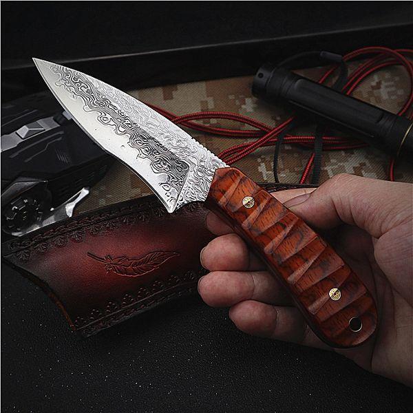 Nueva llegada VG10 acero de Damasco Supervivencia recta del cuchillo de caza lleno de la espiga del palo de rosa de la manija fijó el cuchillo cuchillos con la envoltura de cuero