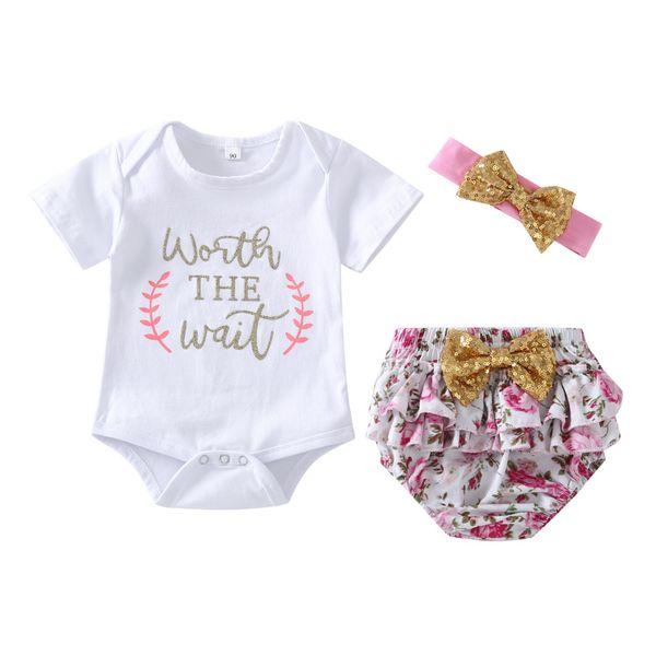 Kinderanzug Sommer Brief Kurzarm Gebrochene Blume Kurze Unterwäsche Mädchen Baby Dreiteiliger Anzug Von DHgate
