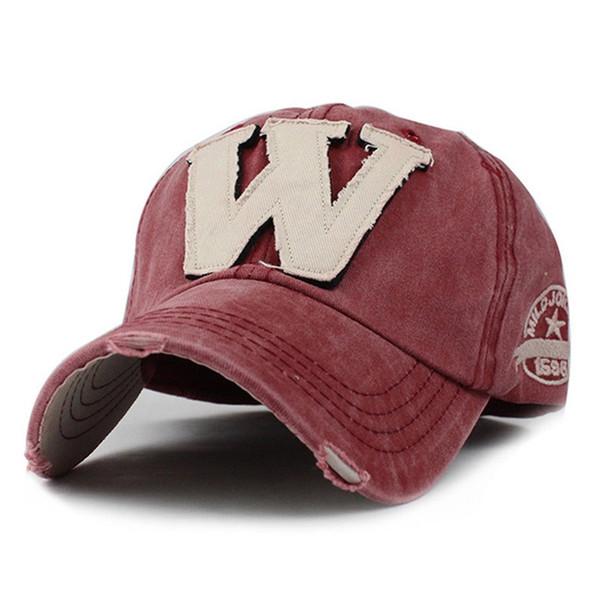 Sıcak Pamuk Nakış Mektup W Beyzbol Şapkası Snapback Kemik Casquette Şapka Erkekler Kadınlar Için X101 Sıkıntılı Giyen Tarzı Şapka