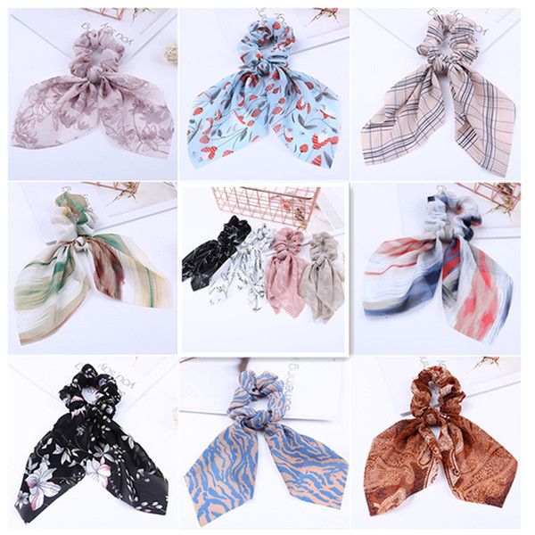 best selling 36 colors Chiffon Bow Streamers Hair Ring Elastic Hair Band Scrunchies Horsetail Tie Solid Headwear Hair Accessories