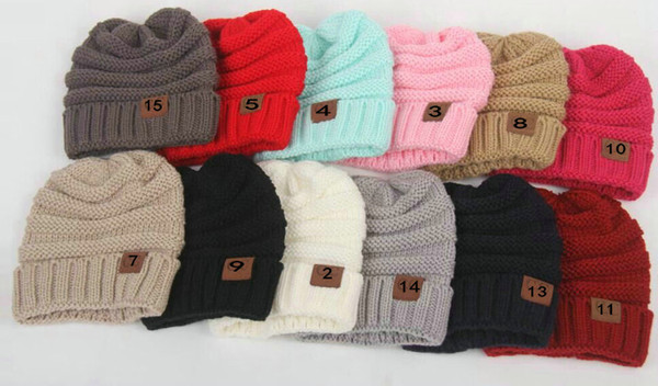 NEUE Frauen Männer kinder Winter Gestrickte Wollmützen Caps Label Warme Skullies Beanies Unisex Erwachsene Casual Hut Sport Lässige Kappe
