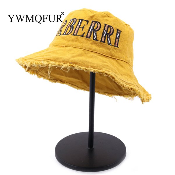 YWMQFUR Summer 100% Washed Cotton Denim Sun Hat Women Fashion Floppy Outdoor Cap Ladies Wide Brim Beach Bucket Hats Wholesale