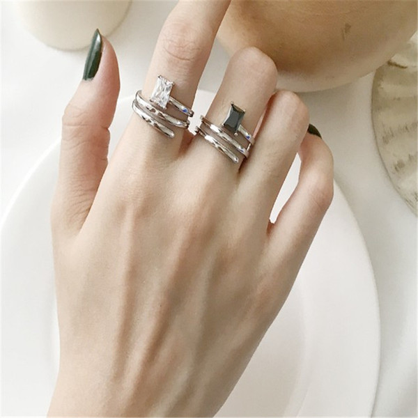 New Wedding Band 925 Sterling Silver Rings White Black Agate Classic Multi Layer Open Rings For Women Finger Fine Jewelry