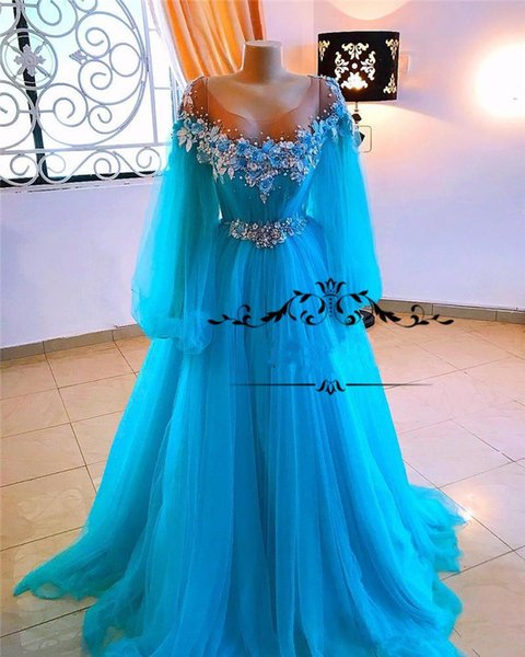 Cinderella Blue Cheap Prom Dresses 2019 A Line Puff Long Sleeves Crystals Flowers Beaded Sequined Girls Pageant Formal Evening Party Gowns