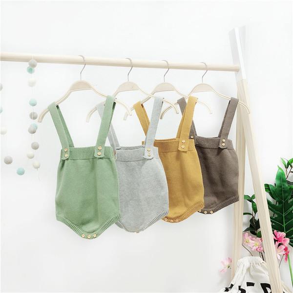 2018 High Quality Baby Boy Knit Romper Girls Cute Crochet Rompers Toddler Brand Spring Suspender Infant Lovely Knitting Romper Y19061201