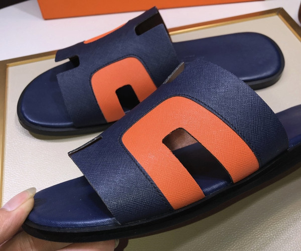 Brand Design men cow leather flat slippers Summer Outdoor Sports Beach sandals fashion soft leather Cool Sandals casual Moccasins,38-44