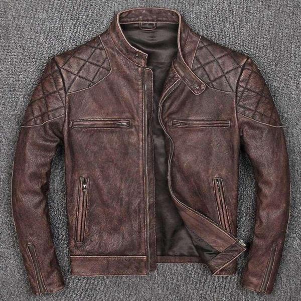 Ücretsiz kargo. Yeni stil sıcak erkek giyim, vintage motorlu bisikletçinin deri Ceketler, adam serin siyah hakiki Deri ceket. Ev ince