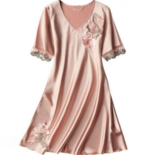 short sleeve silk cloth spring summer home clothing for women towel Home Bath Clothing sexy night sleeping dress