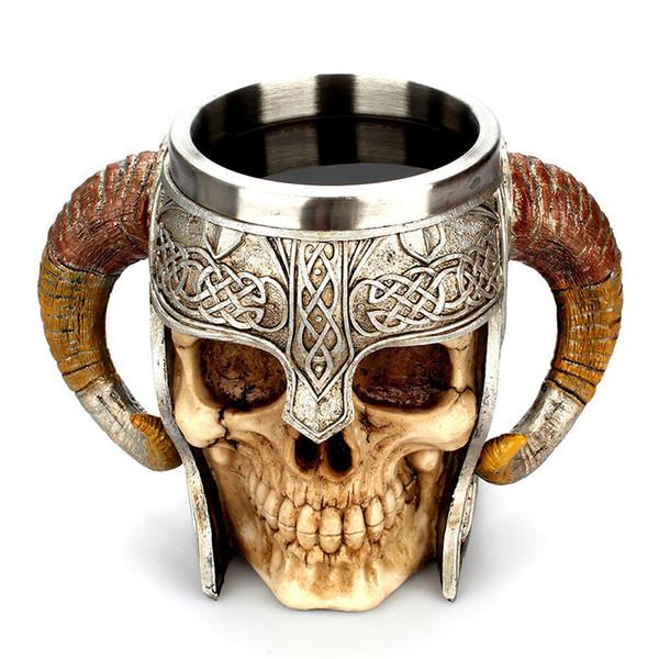 Boccale in acciaio inox Tazza Viking Ram Cornuto Pit Lord Warrior Birra Stein Tankard Tazza da caffè Tazza di tè Halloween Bar Regalo per bicchieri