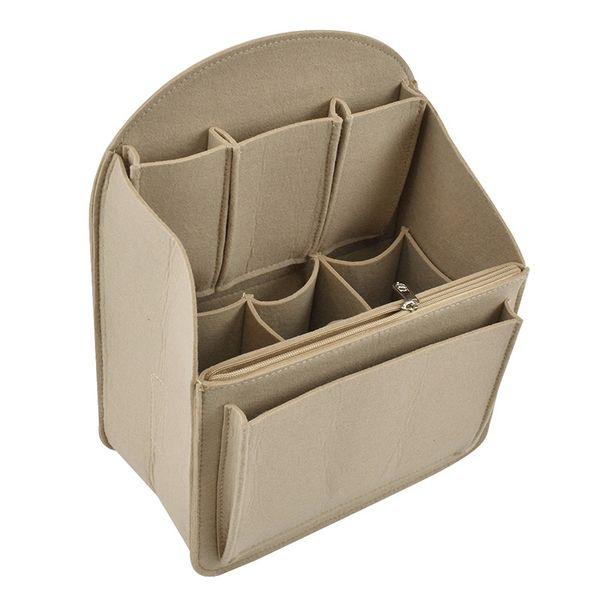 Makeup Bag Insert Travel Organizer Felt Bag Insert Cosmetic with Multi-Pockets Makeup Case Handbag Multifunction Storage