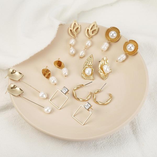 Cuelga los pendientes de perlas nuevas para las mujeres 2019 manera sale del triángulo geométrico Pendiente colgante Mujer Brincos joyería