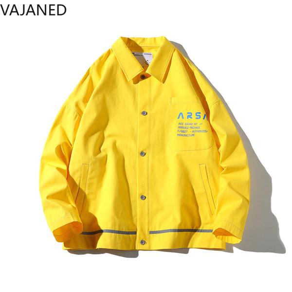VAJANED pocket letter printed single-breasted creative jacket 2019 spring new bright color high street men's loose jacket 405