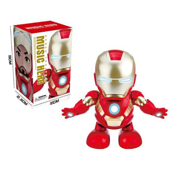 Chaude Musique Danse Iron Man Action Figure Jouet LED Lampe de Poche avec Son Avengers Iron Man Hero Jouets Électriques Swing Robot Marvel Jouets