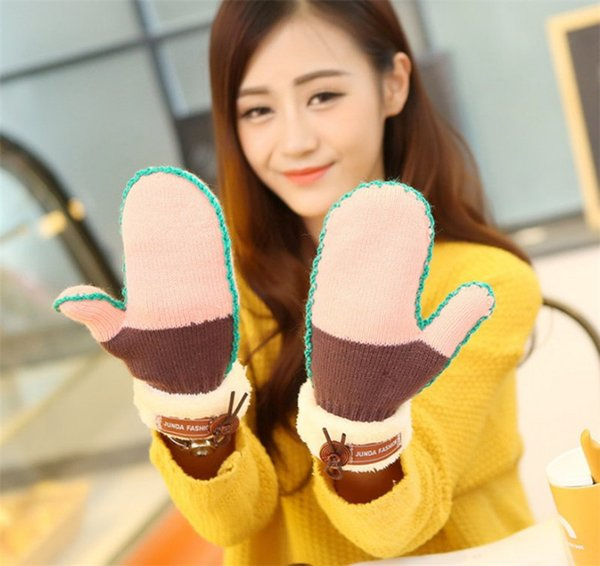 New Type Women Mittens Knitted Gloves Rainbow Knot Fingers Glove Warm Gloves Winter Gloves Function Using