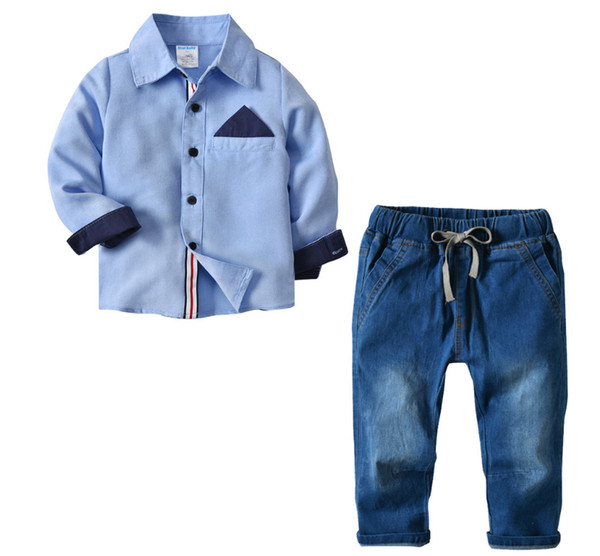 Fashion Kids Clothes Set Long Sleeve Shirt+jeans Pants Toddler Boys Clothing Set for 2~6 Years Boy Clothing Blue