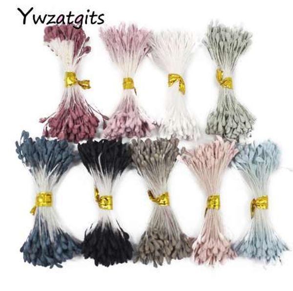 ywzatgits 900pcs/lot 3mm mixed 9 colors Matte double heads flower stamen pistil cake decoration DIY craft 11060315(900)