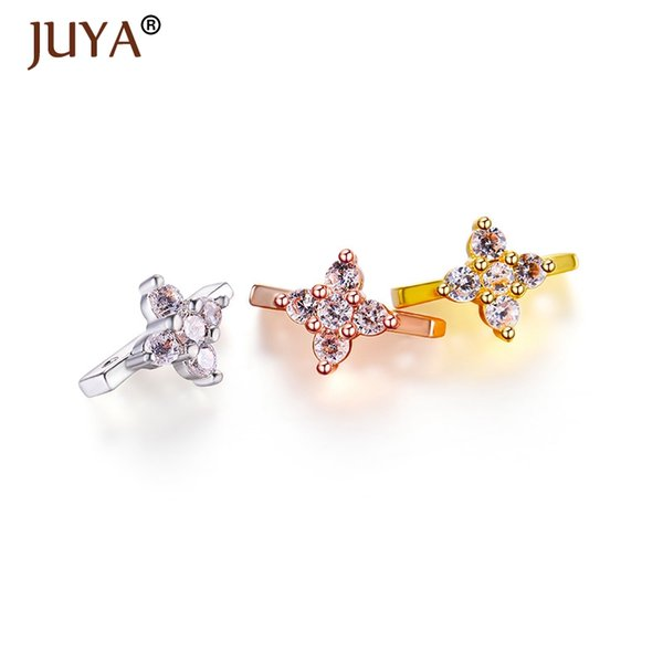 Jewelry Making Supplies Copper Cubic Zirconia Rhinestone Crystal Flower Spacers Bars 2 hole Connectors For DIY Jewellery Making