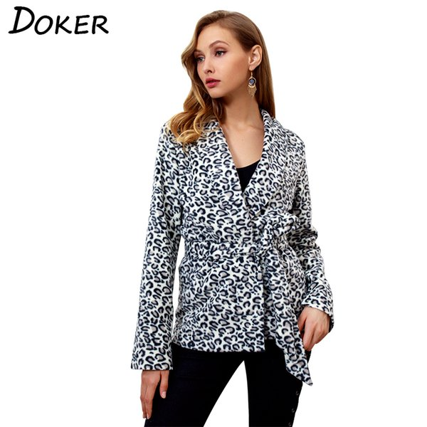 Autumn Fashion Leopard Print Cardigan Jackets Women Long-sleeved Short Coat With Belt Office Lady Outerwear Casual Women Clothes