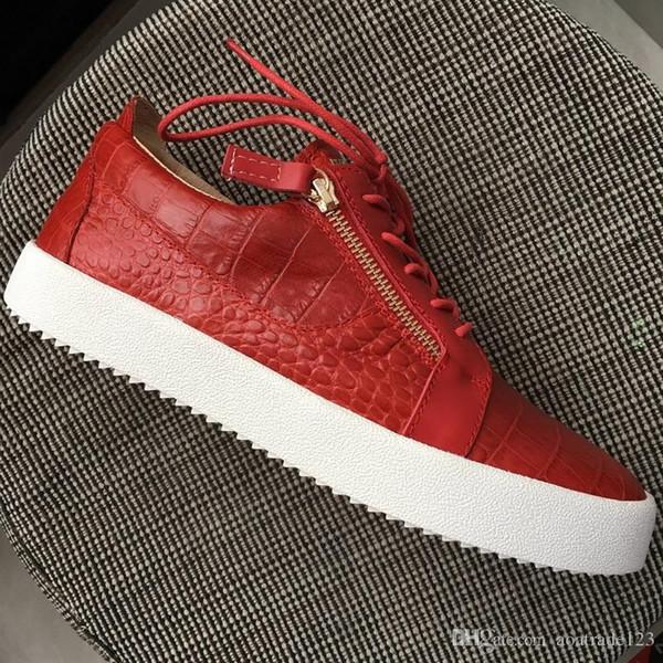 Neuheiten Herren Damen Red Stone Pattern Leder Double Gold Zip Sneakers, Designer Brand Lovers Schnürschuhe Low Top Freizeitschuhe 35-47