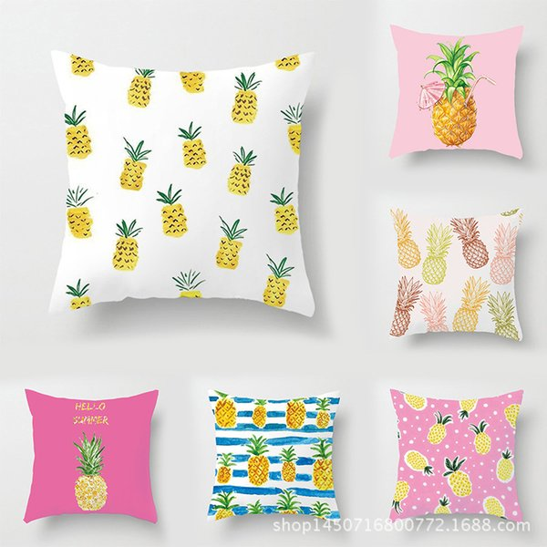 2019 Cartoon Pineapple Fashion Pillow Case Office Square Pillowcase Print Summer Fresh Cushion Cover Home Decor