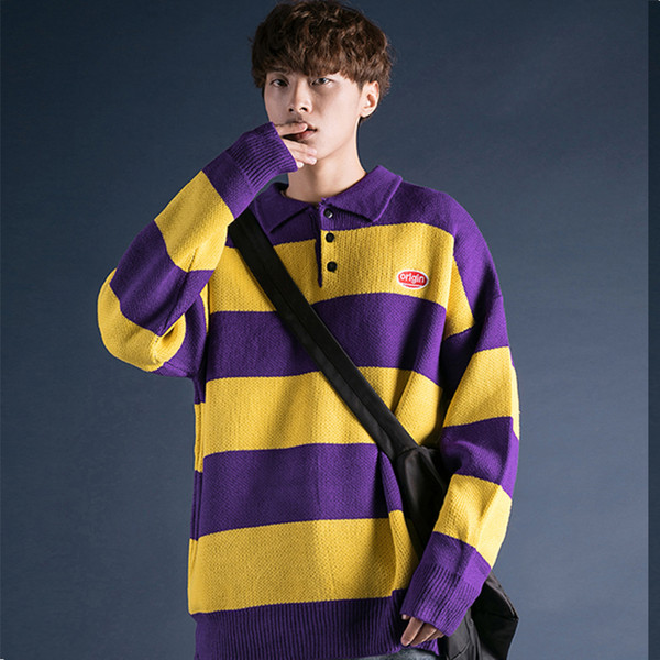 Cool Fashion Men Sweaters Knitwear Pullover Casual Winter Striped Mens Thick Sweater Warm Harajuku Korean Style Christmas Jumper