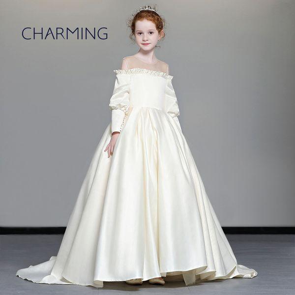 Compre Vestido De Niña De Flores De Satén Vestidos Festivos Vestidos Bonitos Para Niñas Vestido Formal Vestido Largo Para Niños Vestidos De Flores De