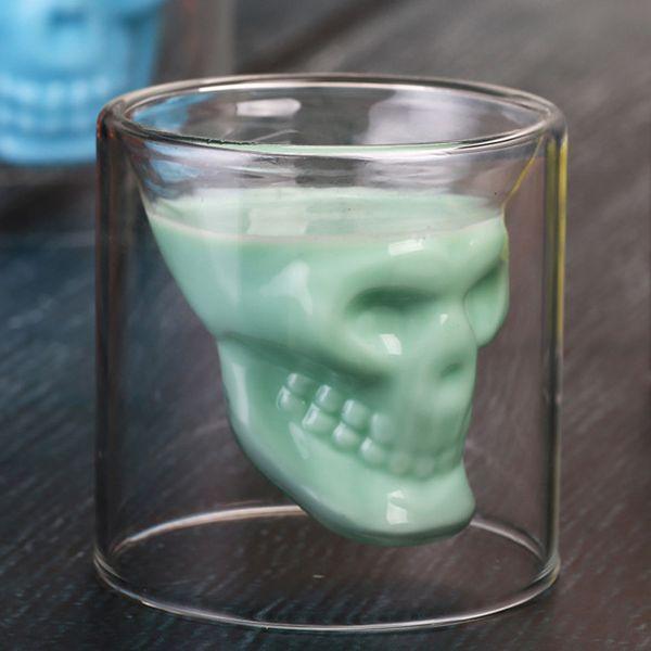 Yaratıcı Bar Parti Drinkware Kafatası Şeffaf Şarap Kupası Kafatası Cam Bira Bardağı Viski Bardakları Kristal İskelet Su Kupası DH1158 Shot