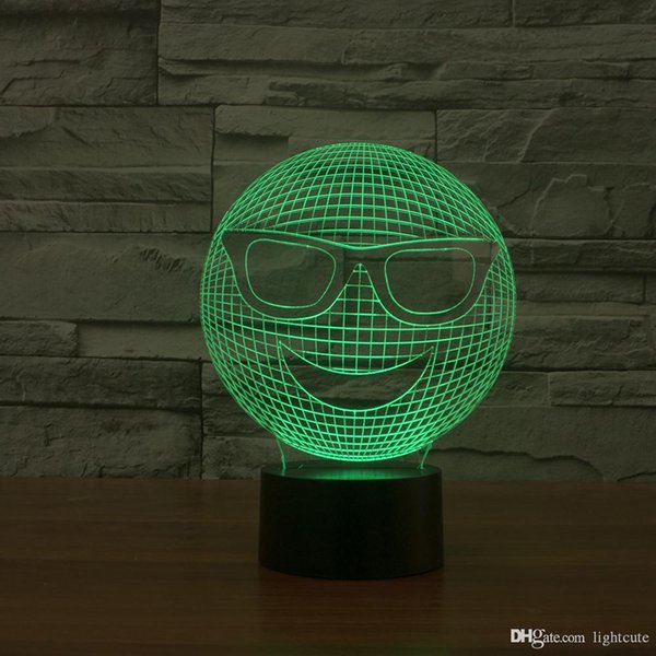 Expresión Cool 3D Ilusión luz de la noche, táctil 7 cambiar el color, la lámpara de la decoración del hogar del muchacho del bebé LED chlid cumpleaños regalo de Navidad regalo de Navidad