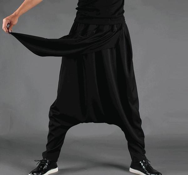 Artı Boyutu Erkekler Rahat Örtüsü Bırak Crotch Harem Hip Hop Pantolon Pantolon Baggy Dans Pantolon Gotik Punk Tarzı Harem Pantolon Erkekler