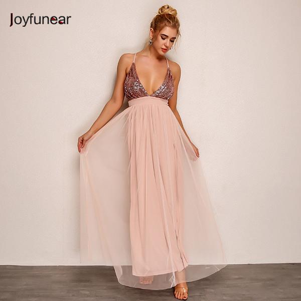 Joyfunear neue rosa farbe nähte perspektive gaze lose pailletten tiefem v-ausschnitt strap frauen mesh kleid party vestidos großhandel Q190424