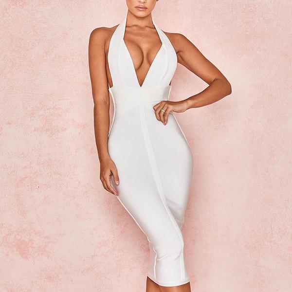 New Women Bandage Halter Sexy Celebrity Evening Party Club Clothes Bodycon Summer Dress Deep V Neck Vestidos Q190530