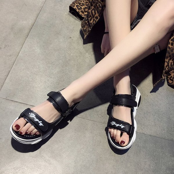 2019 summer new style muffin thick bottomed sports casual college style open toe students women's sandals - from $22.07