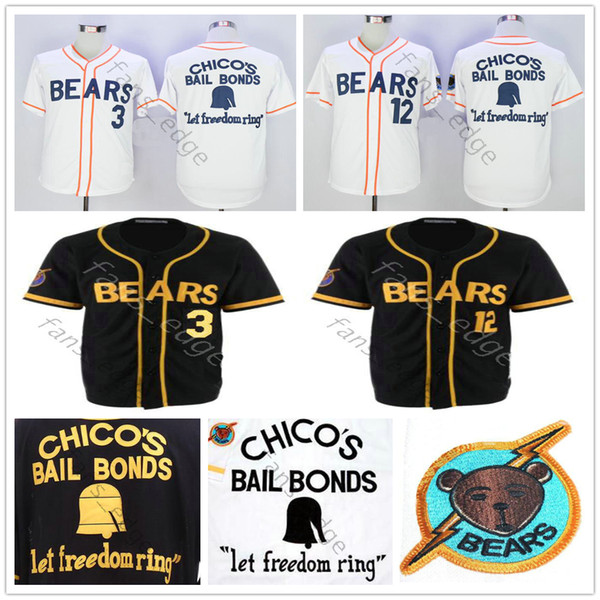 Bad News Bears Jersey Filme 1976 Bail Bonds de Chico 3 Kelly Leak 12 Tanner Boyle Baseball Branco Preto Camisas Bordadas Tamanho S-XXXL