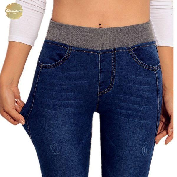 Stretch Jeans mujeres del resorte 2019 pantalones flacos del dril de algodón Espesar delgada cintura alta pantalones del lápiz Mujer Otoño Jean P8035