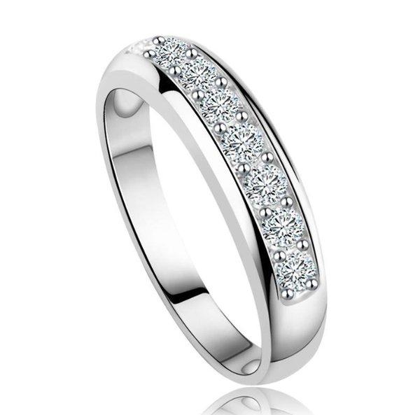 Banda de boda de circonio austriaco de lujo para las mujeres anillo de eternidad venta al por mayor Rose GoldSliver Color Ring Supplier OR24