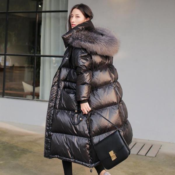 Manteau épais Parka long hiver de femme vers le bas Capuche Col de fourrure Taille Plus Femme 2019 Vêtements Lady Outwear coréenne Puffer matelassée