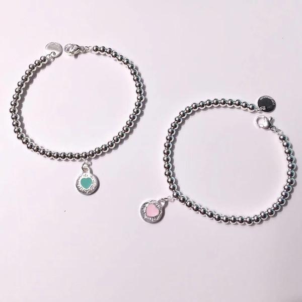 Pulsera de acero con diseño de titanio 316L con corazón en esmalte de color rosa y verde decorar pulsera con dijes para las mujeres y la madre joyas de regalo