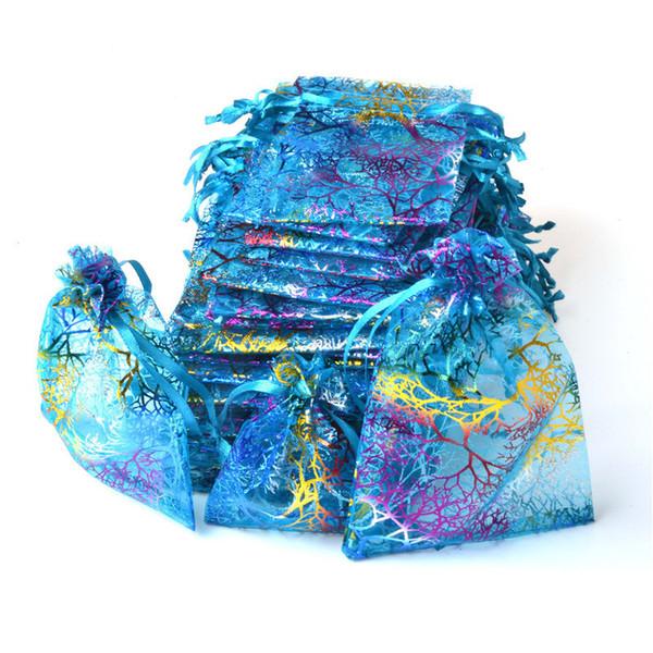 100pcs/lot 9x12cm Blue Organza Bags Coralline Custom Jewelry Tea Packaging Bags Organza Wedding Gift Bags Saquinho De Organza