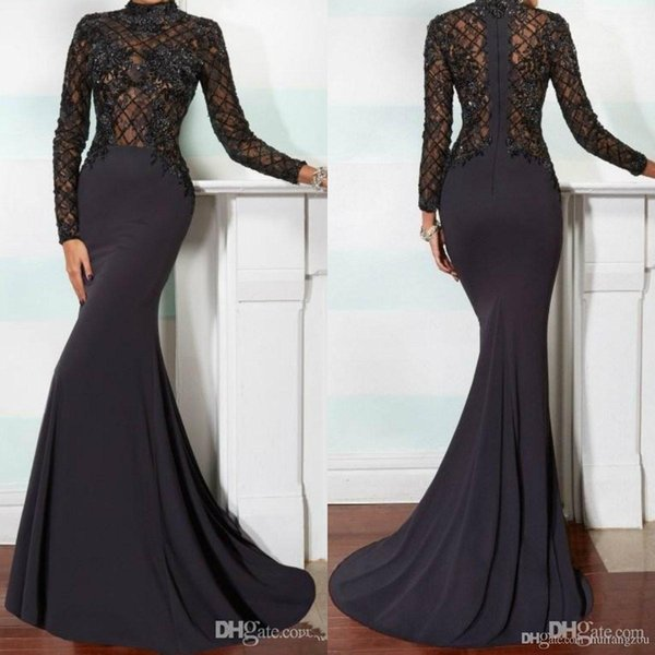 2019 Elegant Mermaid Mother of the Bride Dresses High Neck Long Sleeve Lace Applique Black Beads Crystals Chapel Train Evening Gowns