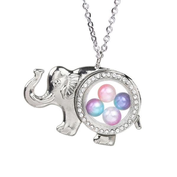 Plaqué argent éléphant magnétique pendentif en cage de perle de cage en verre ouvert flottant des charmes de mémoire vive avec la chaîne en acier inoxydable