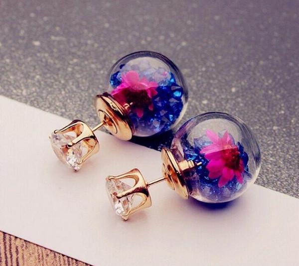 2019 новая мода 24 пар / лот высокого качества Симпатичные Стеклянный Шар Rhinestone Цветок Серьги Стержня женские Элегантные Серьги модные подарки