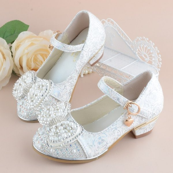 2018 New Kids Shoes For Girl Princess School Shoes For Party And Wedding Flower Children Leather Shoes Fashion High Heel Shoe Y19051403