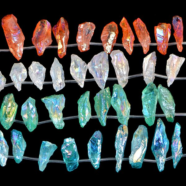 "3 Strands/Lot Wholesale Metallic Titanium Coated Natural Crystal Rock Druzy Quartz Stick Beads Diy Jewelry 15.5"" Fashaion"