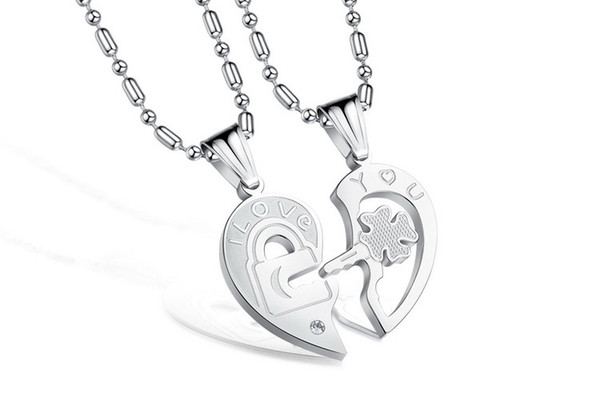 stock hot sale high quality Korean fashion jewelry titanium steel diamond key puzzle couple lovers pendant necklace