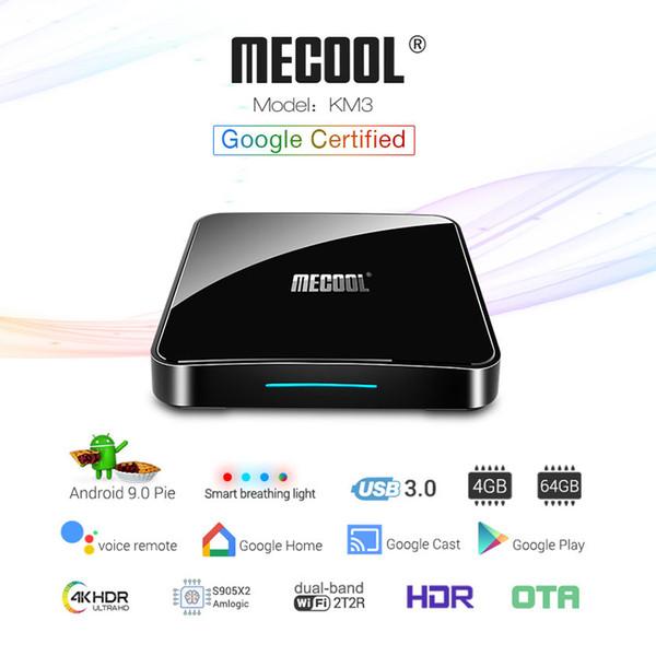 Mecool KM3 ATV TV Box Android 9.0 Pie 4GB DDR4 64GB Google Cast Voice Remote 2.4G/5G 2T2R WiFi Bluetooth Smart Set Top Box USB 3.0 OTA 4G64G